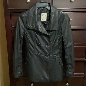 Downtown Coalition Apparel Jackets & Coats - Faux Leather Double Breasted Fitted Coat. EUC